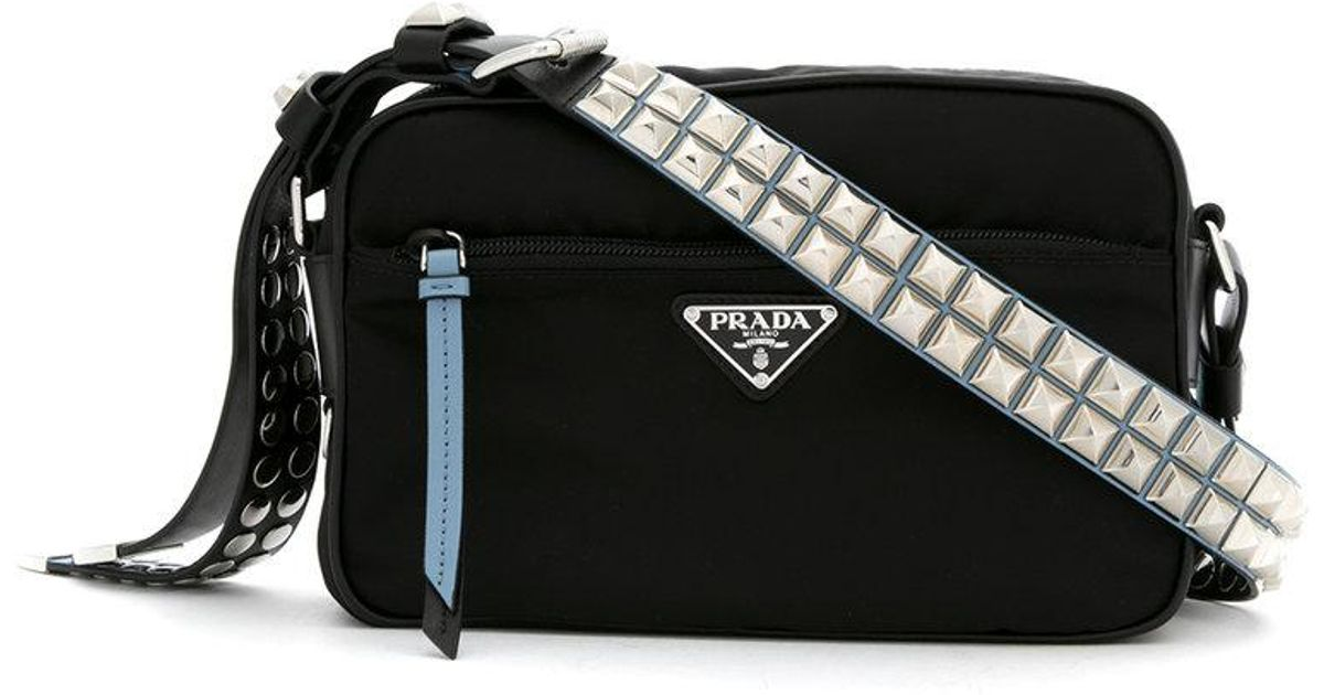 bdbb6e5c2 Prada Studded Crossbody Bag in Black - Lyst