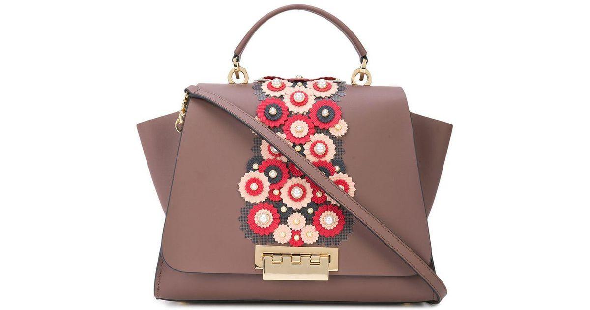 Lyst zac zac posen eartha floral applique bag in brown