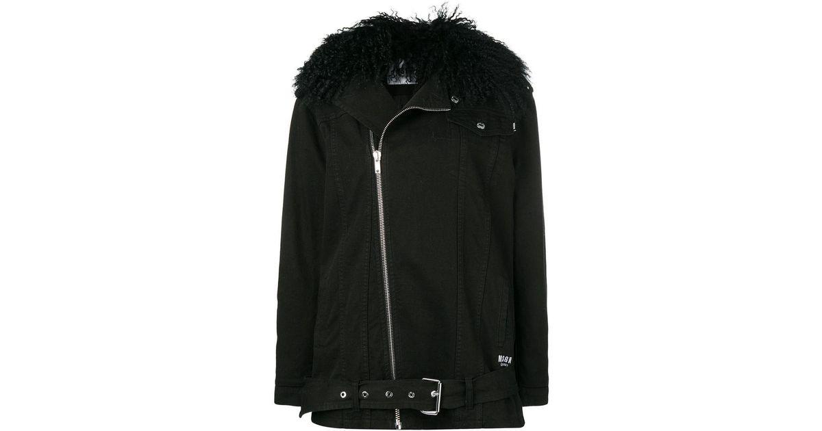 Msgm Lamb Fur Collar Denim Jacket In Black Lyst