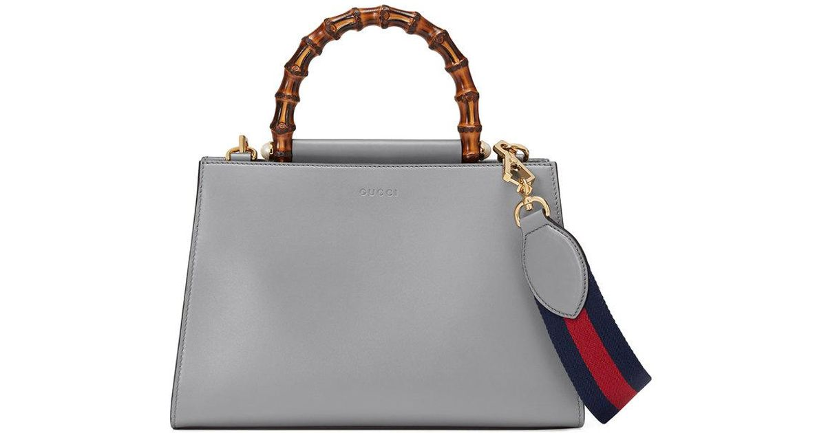 8f32c7f6d59 Lyst - Gucci Nymphaea Leather Top Handle Bag in Gray
