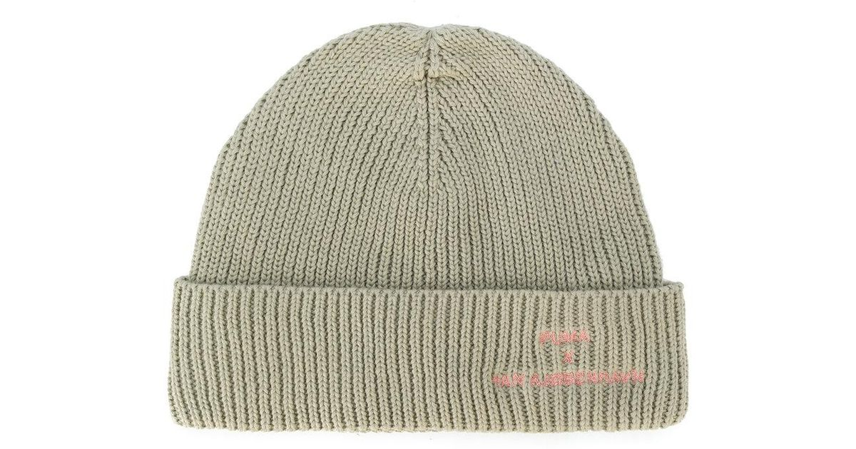 3c46571349f ... get lyst puma knitted beanie hat in green for men 2851f d64b8