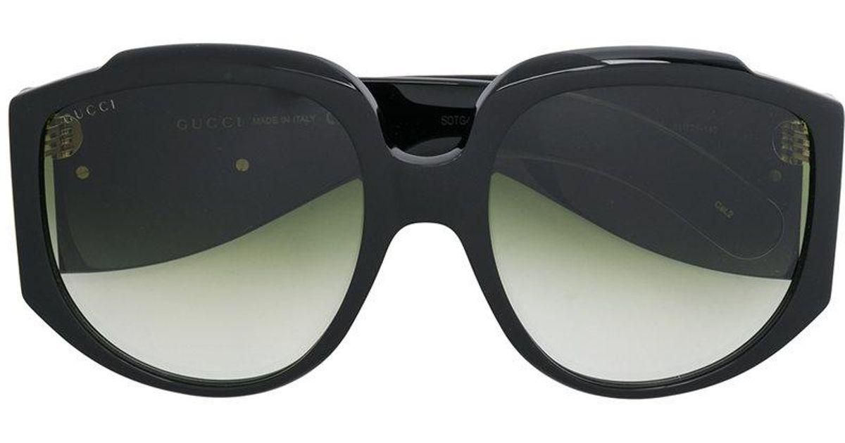 0032824ad9cbe Gucci Oversized Round Frame Sunglasses in Black - Lyst