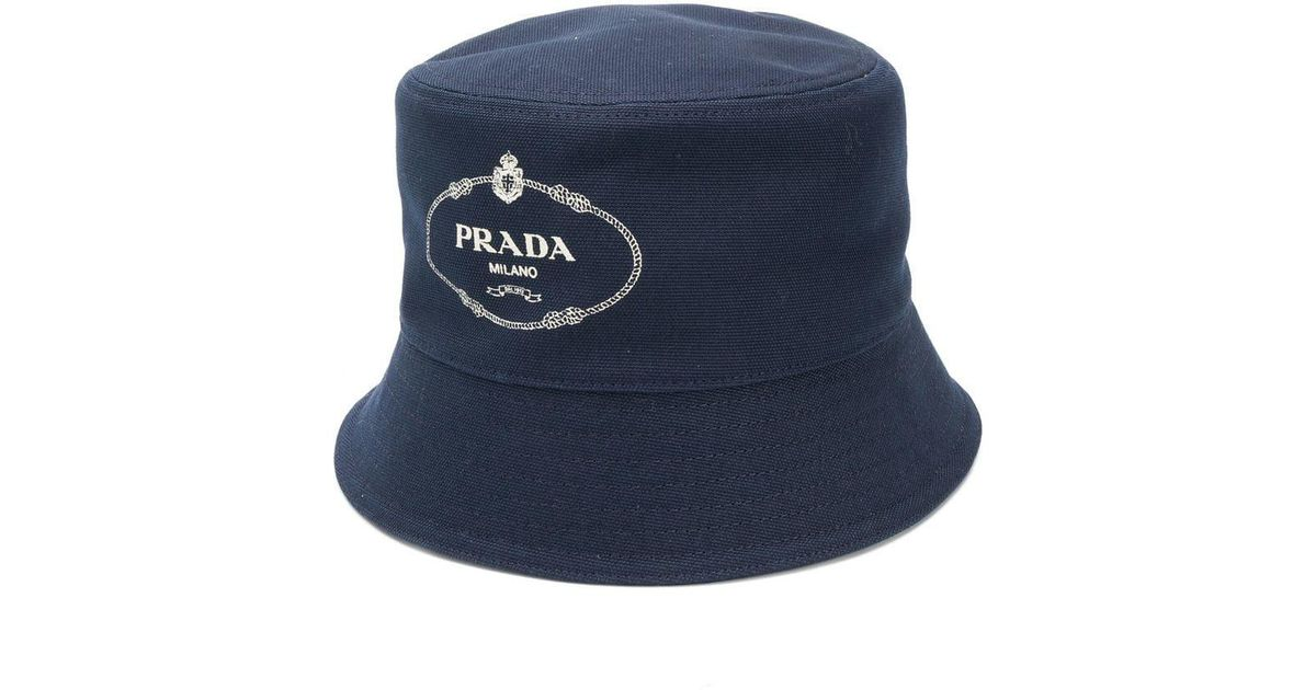 22aabcea9c2 Prada Logo Print Bucket Hat in Blue for Men - Lyst
