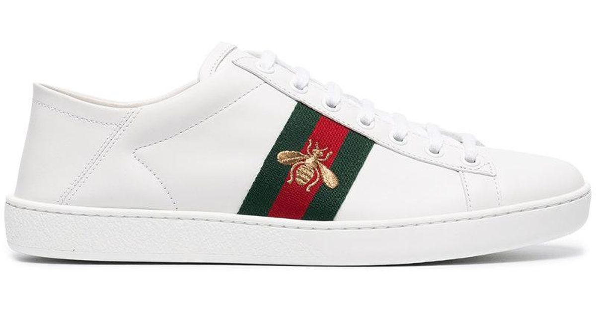 Ace Watersnake-trimmed Embroidered Leather Sneakers - White Gucci WXB1JLqC
