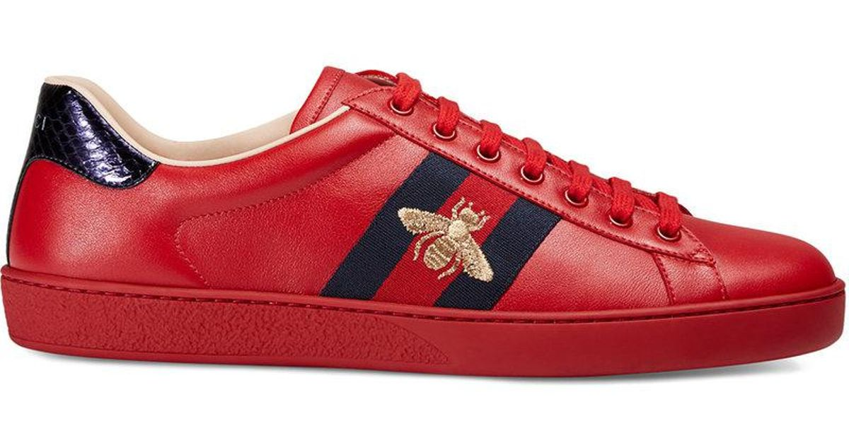 a4c549c0f96 Gucci Ace Embroidered Sneaker in Red for Men - Lyst