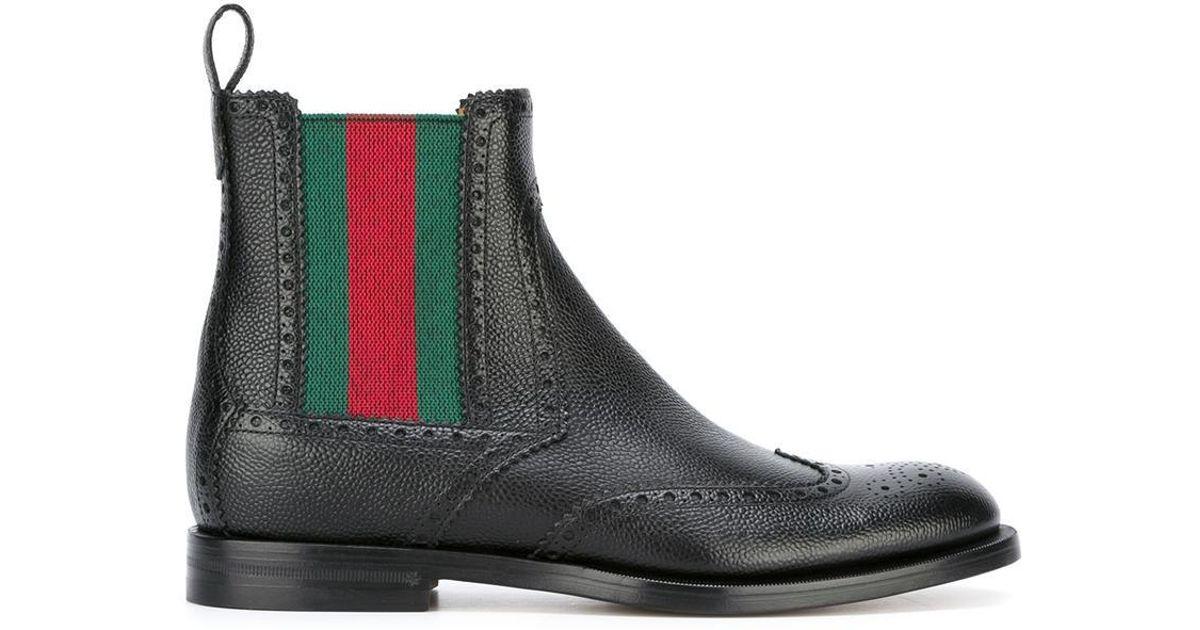 39c3002a84e Lyst - Gucci Web Brogue Boots in Black for Men