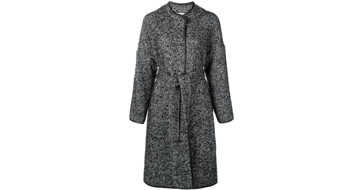 Black Coat in Patterned Barile Pinko Belted Lyst Y7axz ac94cc63c3c9