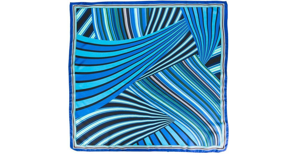 Missoni 'foulard' Multi Stripes Scarf in Blue