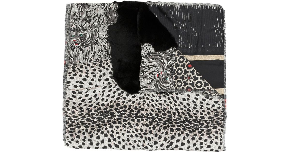 Pierre louis mascia Animal Print Scarf in Black