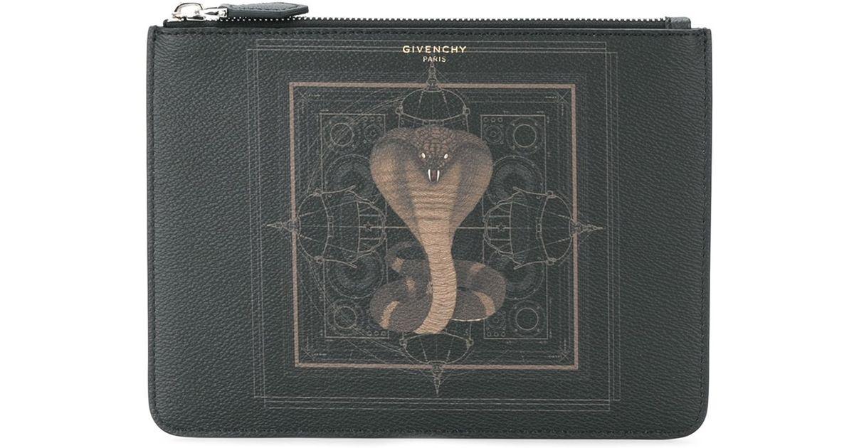 3da2a38ae4b0 Lyst - Givenchy Cobra Print Pouch in Black