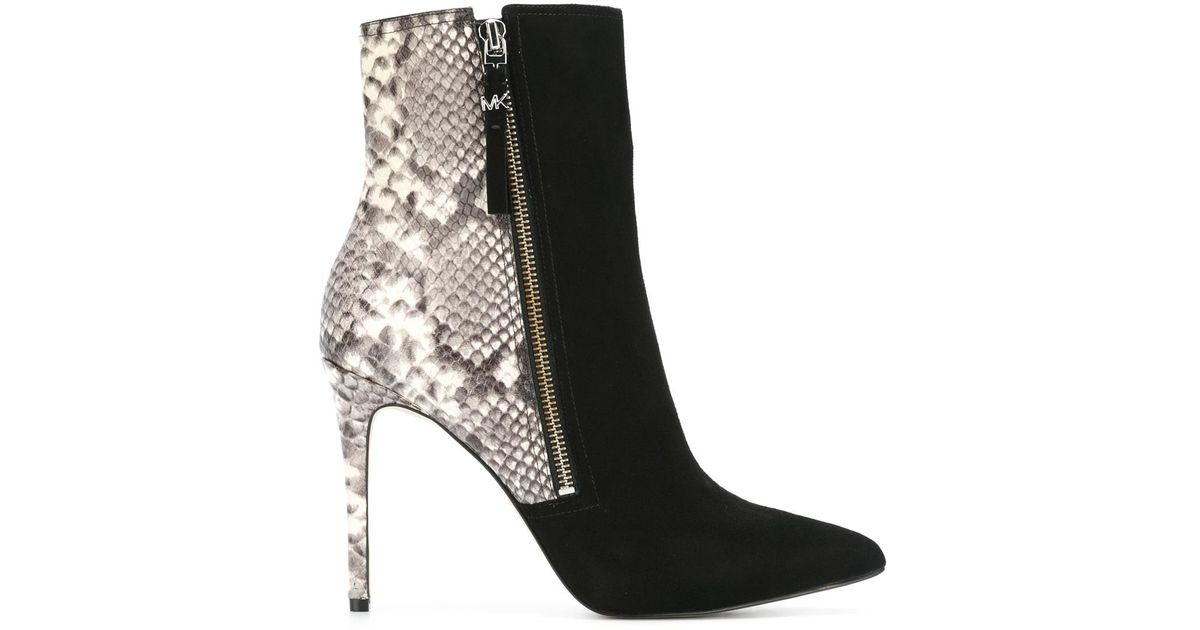 michael kors dawson high heel ankle boots in black lyst