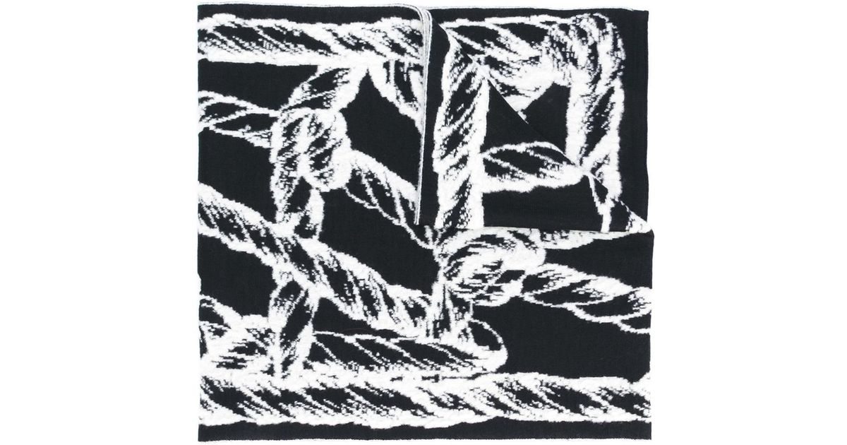 c5871ef05 Kenzo Rope Intarsia Scarf in Black - Lyst