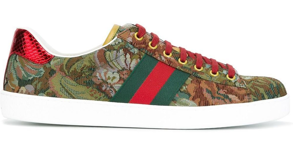 14b87ced5c4 Lyst - Gucci Ace Floral Embroidered Sneakers in Green for Men