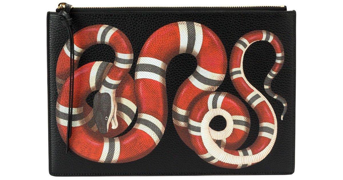 01d8efa89e4039 Gucci Snake Print Pounch in Black - Lyst