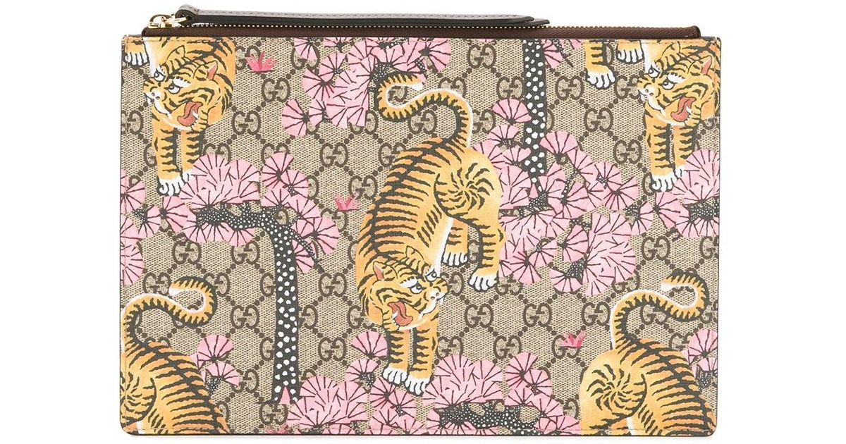 60c2fbca7c2 Gucci - Bengal Clutch Bag - Women - Leather - One Size in Brown - Lyst