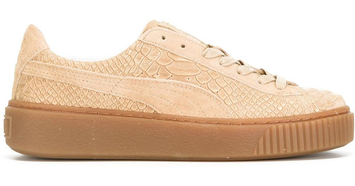 4babb42e549f Puma Basket Platform Core Sneakers in Natural - Lyst