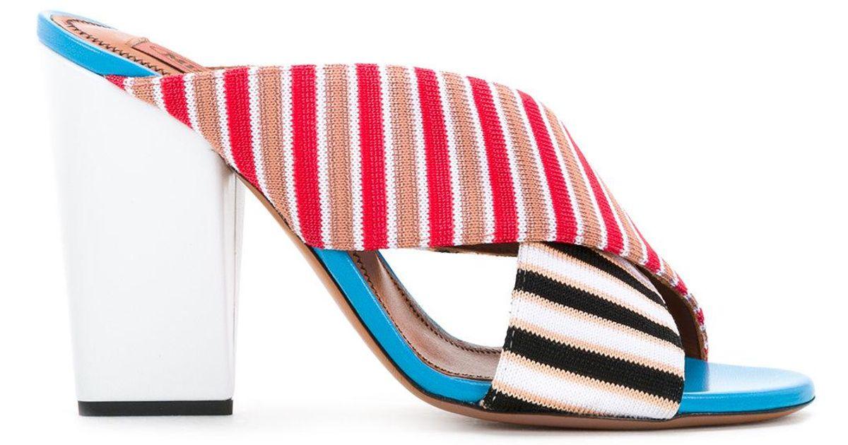 Red - Striped Strap Mules - Women - Cotton/lamb Skin/viscose - 40.5