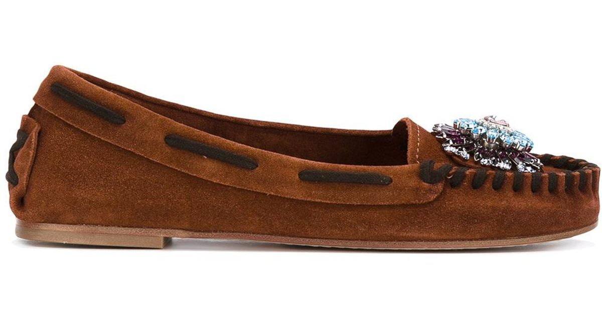 e352e0b8758 Miu Miu - Flower Detail Loafers - Women - Leather suede - 40 in Brown - Lyst