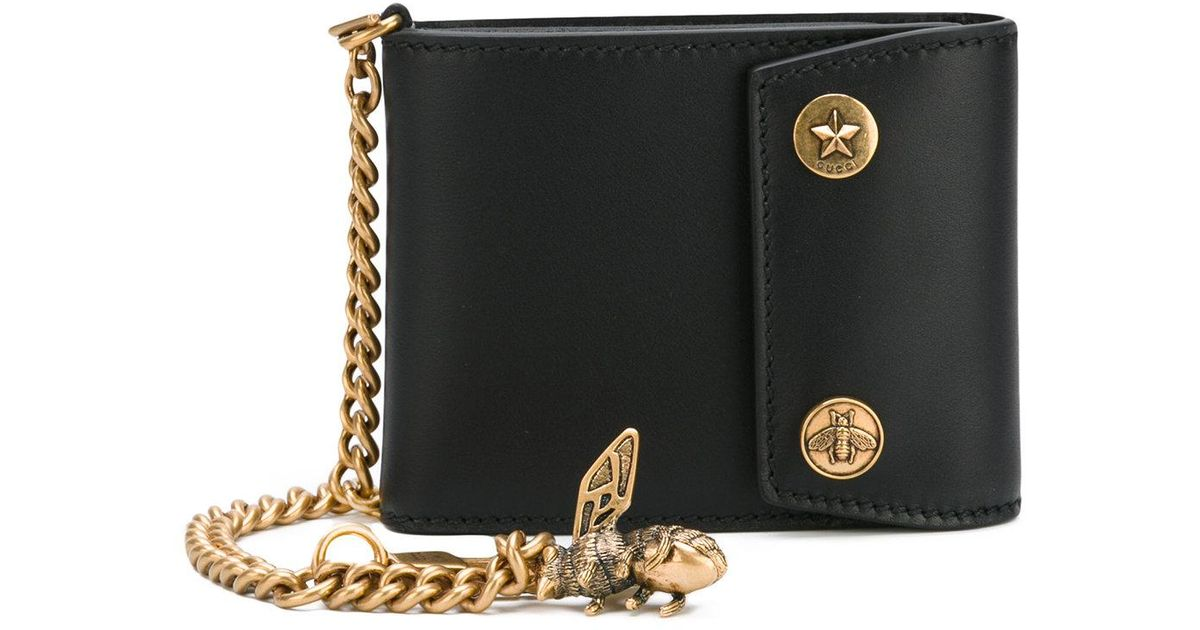 8bf172dd456 Lyst - Gucci Chain And Bee Wallet in Black for Men