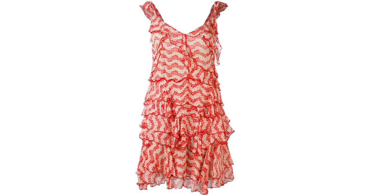d9fee54ec9c The Kooples Jasmine Print Ruffle Dress in Red - Lyst