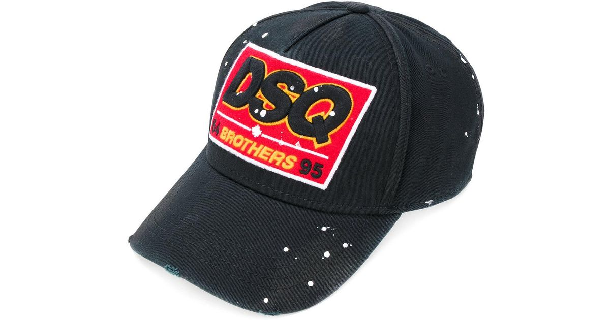 DSquared² Dsq Patch Baseball Cap in Black for Men - Lyst 357b3a3cea4