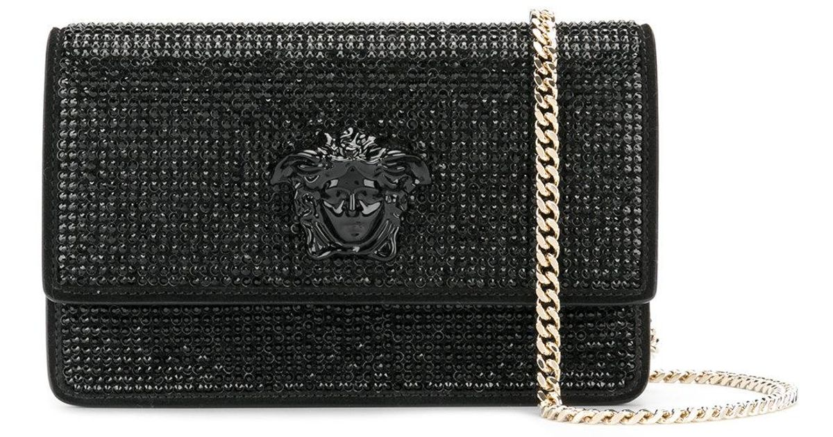 19bb5ae358 Versace - Black Crystal-embellished Medusa Palazzo Shoulder Bag - Lyst