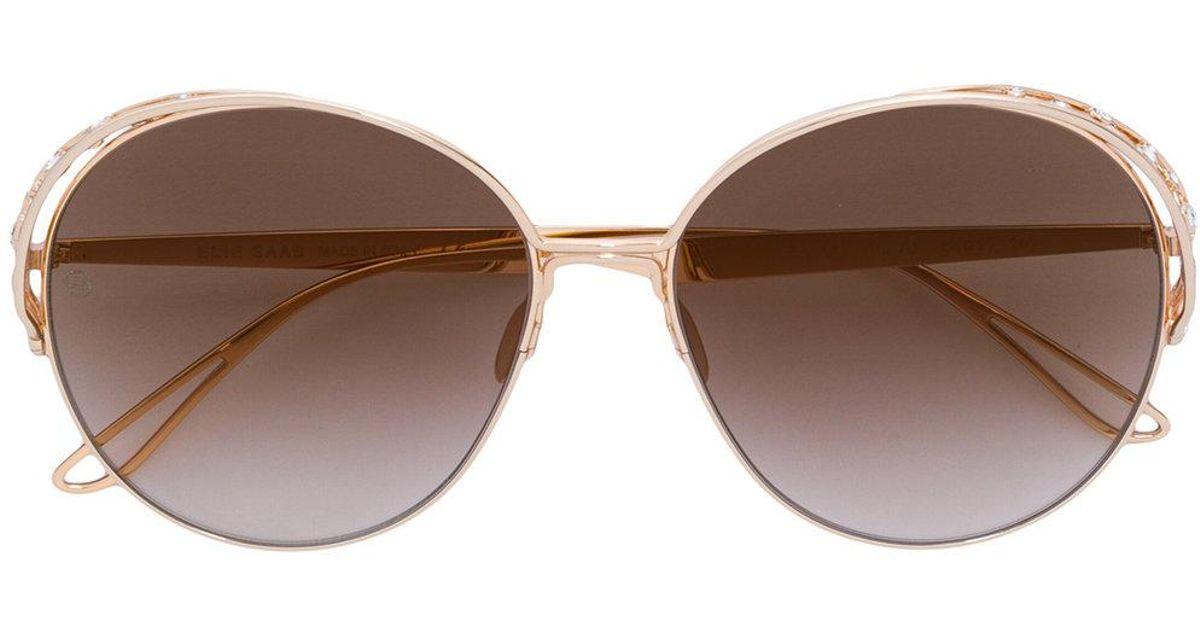 Swarovski crystal-embellished round-frame sunglasses - Yellow & Orange Elie Saab j9QEa9F