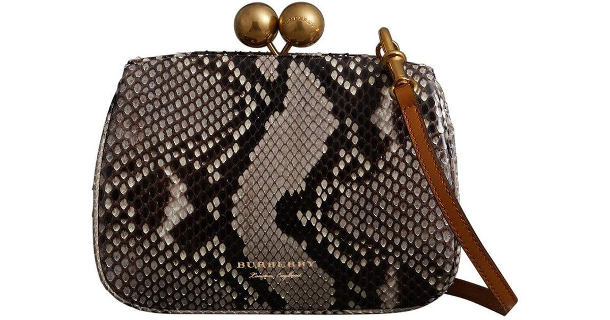 46c63e9102 Burberry Small Python Frame Bag - Lyst