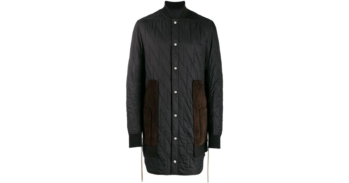 Rick Owens Black Quilted Duffle Coat For Men Lyst