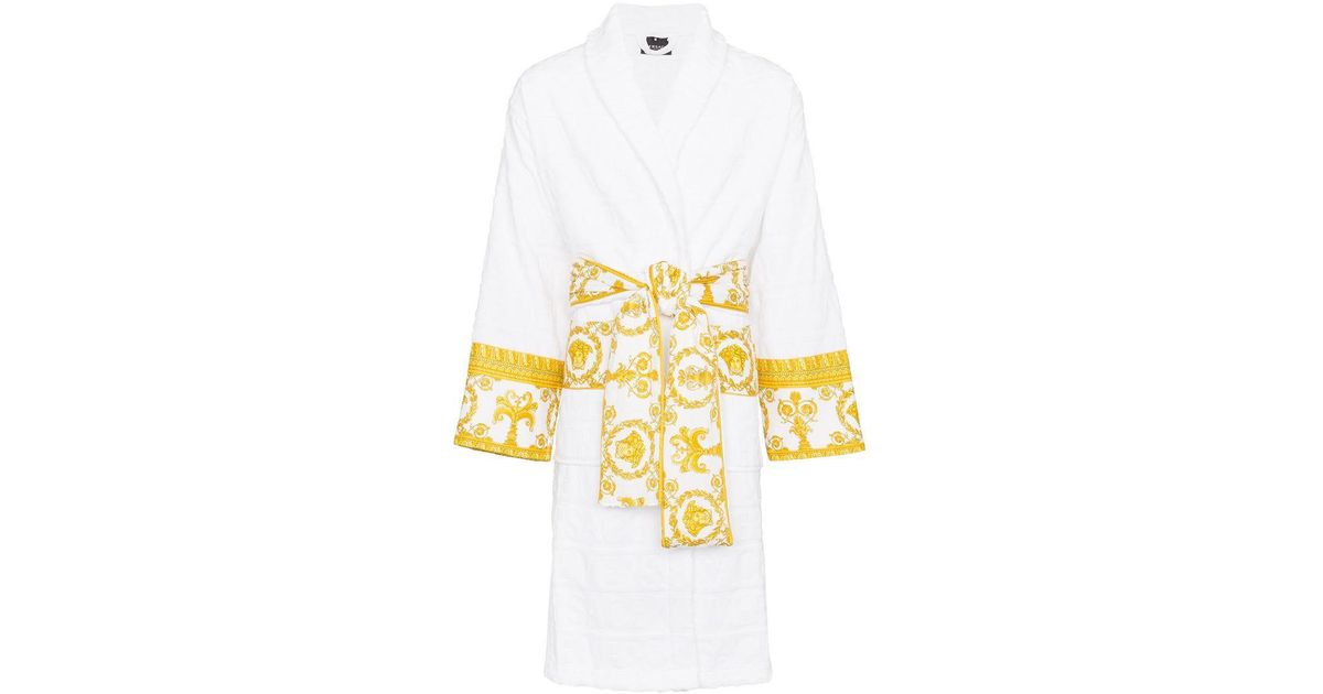 a3892cf32d Versace Satin-trimmed Logo-jacquard Cotton-terry Robe in White for Men -  Lyst