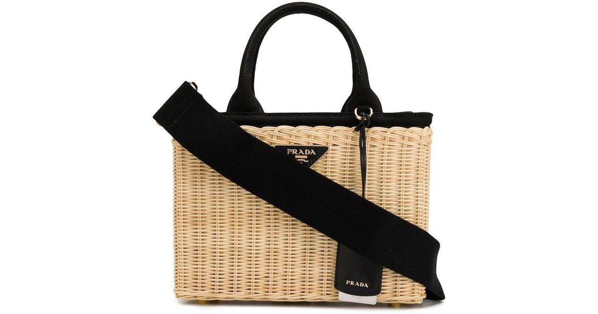 20e63da52bdb Lyst - Prada Basket Tote Bag in Black