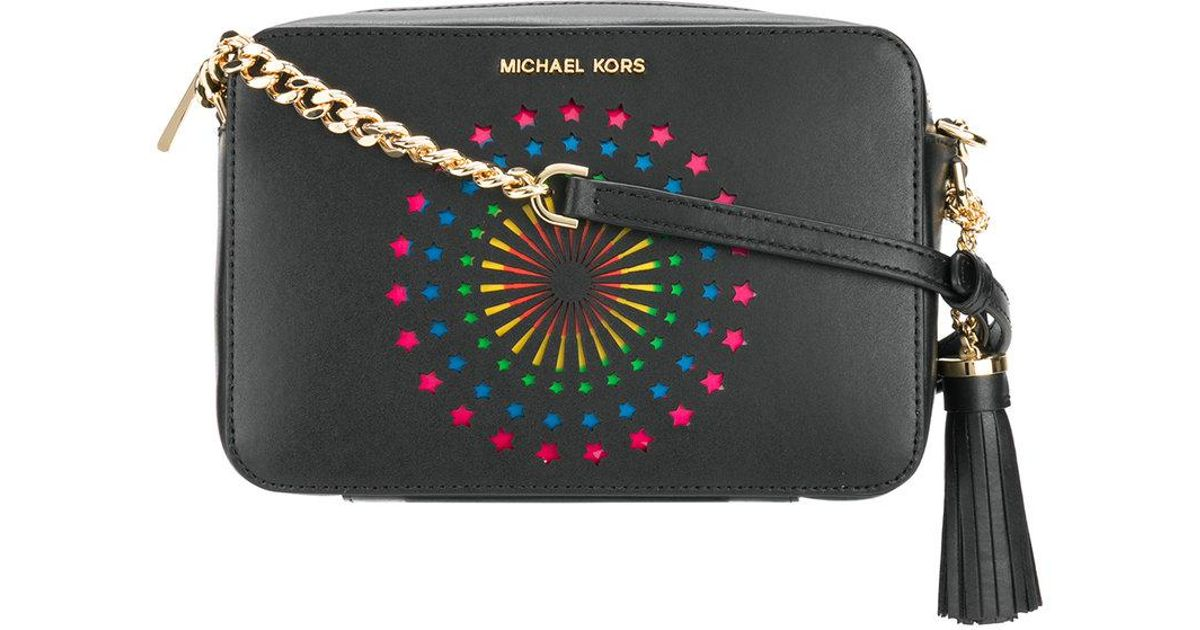 d325498ca62f MICHAEL Michael Kors Ginny Star Patch Crossbody Bag in Black - Lyst