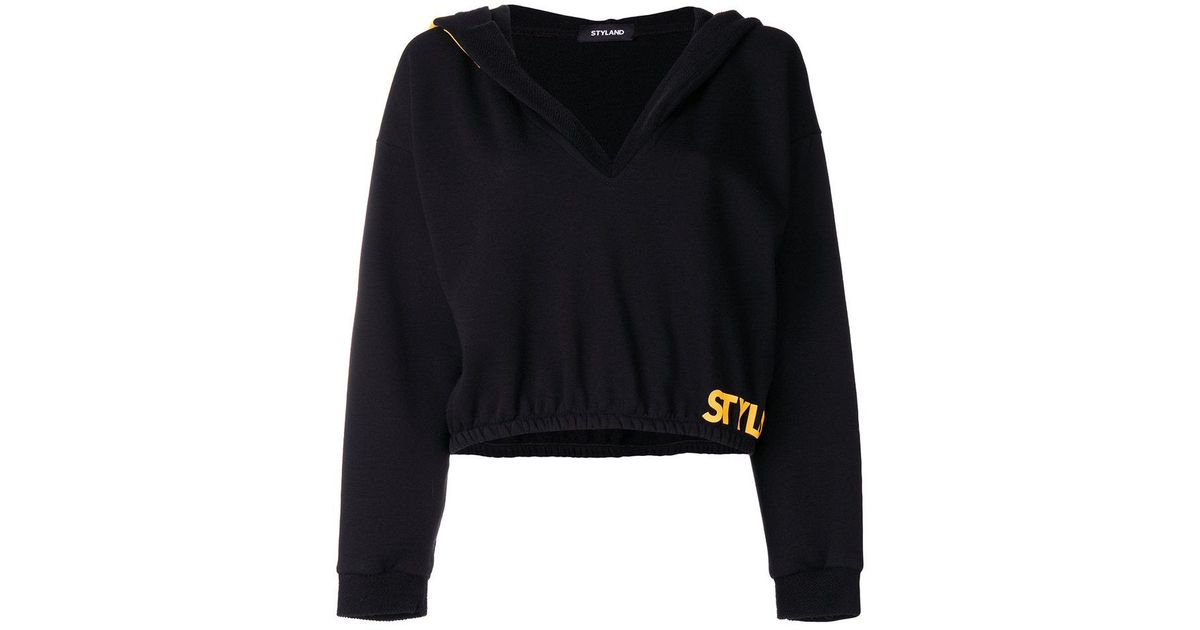oversized hood cropped sweater - Black Styland Sale Cheapest Price PBYPaQAbz