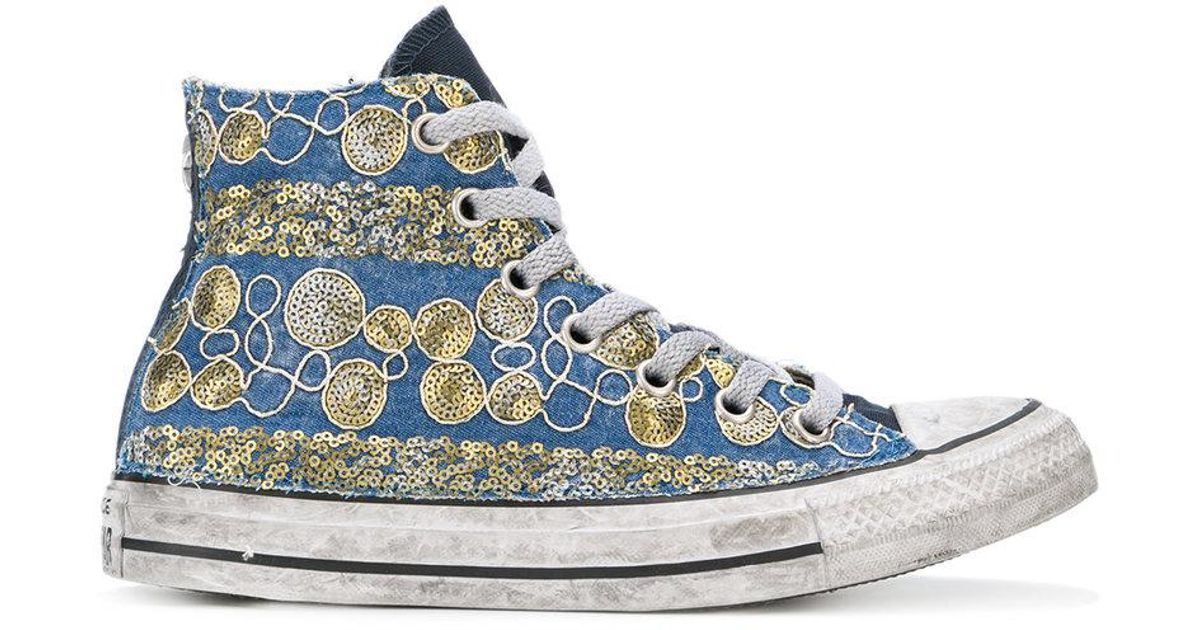Lyst - Converse Sequin Embroidered Hi-top Sneakers in Blue 878e716b9