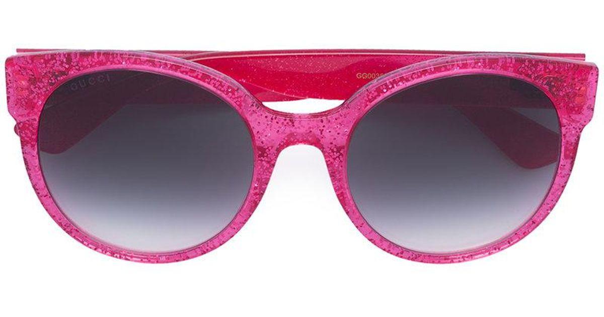 e202e622a2993 Gucci Round-frame Glitter Sunglasses in Pink - Save 4% - Lyst
