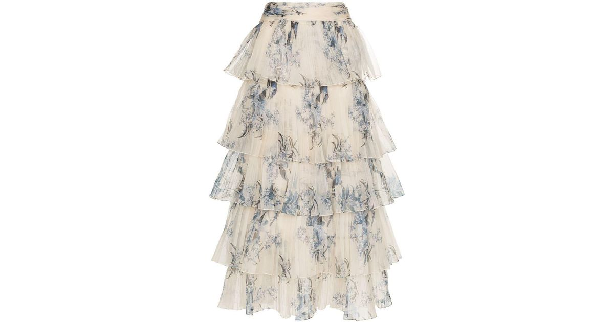 561db8ad77b Lyst - Johanna Ortiz Journey Of The Soul Floral Print Tiered Silk Skirt in  Natural