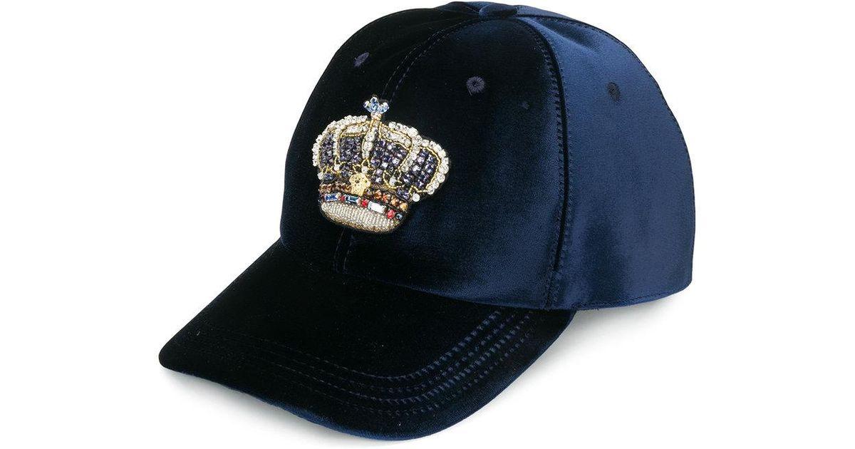 f6470c41653 Lyst - Versace Velvet Crown Baseball Cap in Blue for Men