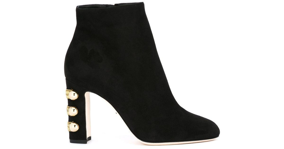 Lyst - Dolce   Gabbana Military-Detail Suede Ankle Boots in Natural 6322881fdc0e