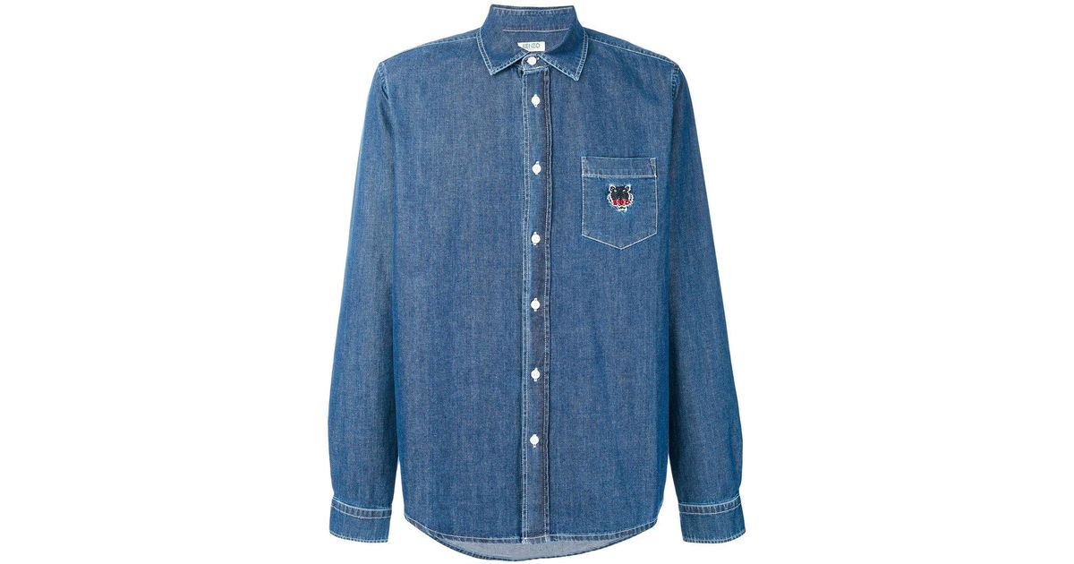 fc7e37e85c Lyst - KENZO Tiger Embroidered Denim Shirt in Blue for Men