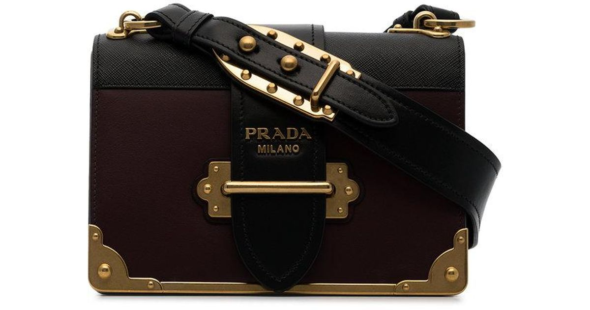26d83c2bee5e4b Prada Black And Burgundy Cahier Leather Crossbody Bag in Red - Lyst