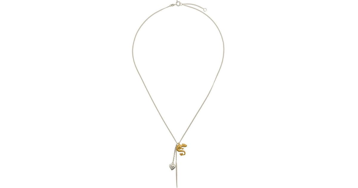 Wouters & Hendrix dragon and heart pendant necklace - Metallic JkAgSnX6