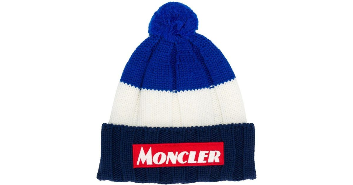 1dcc0ca1f Moncler - Blue Pompom Hat for Men - Lyst
