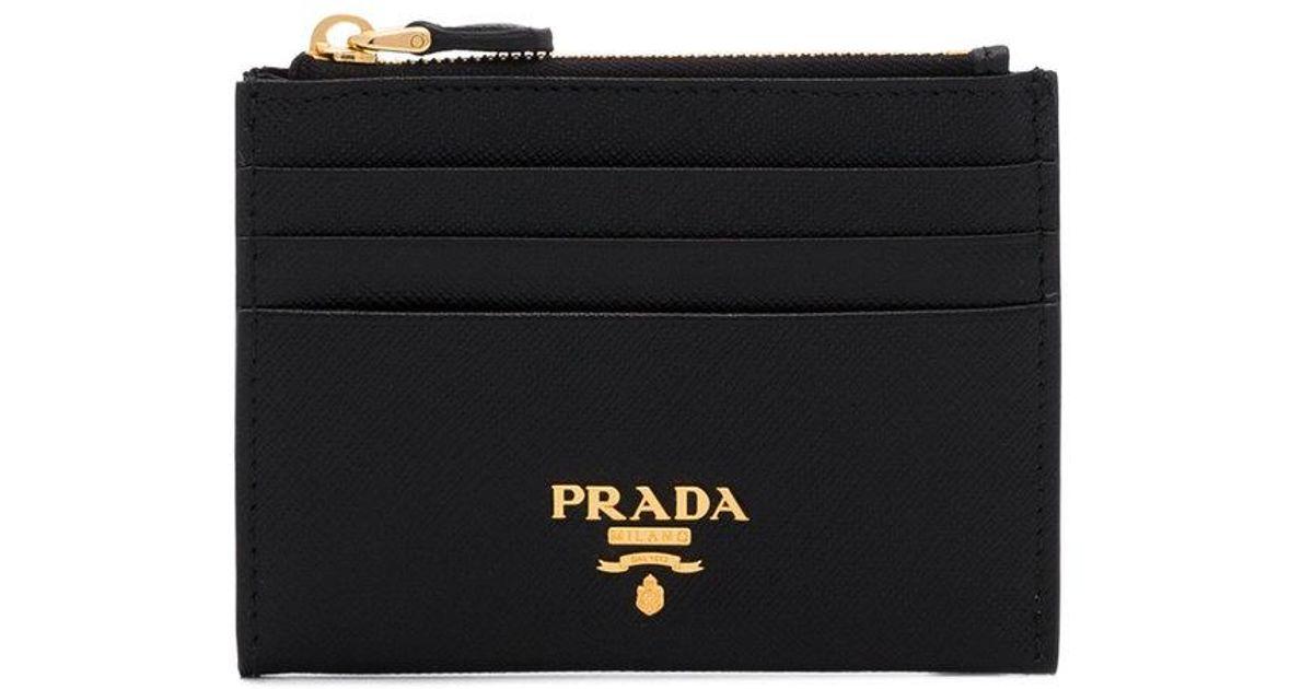 06a10b668207 Prada Black Saffiano Logo Plaque Leather Wallet in Black - Lyst