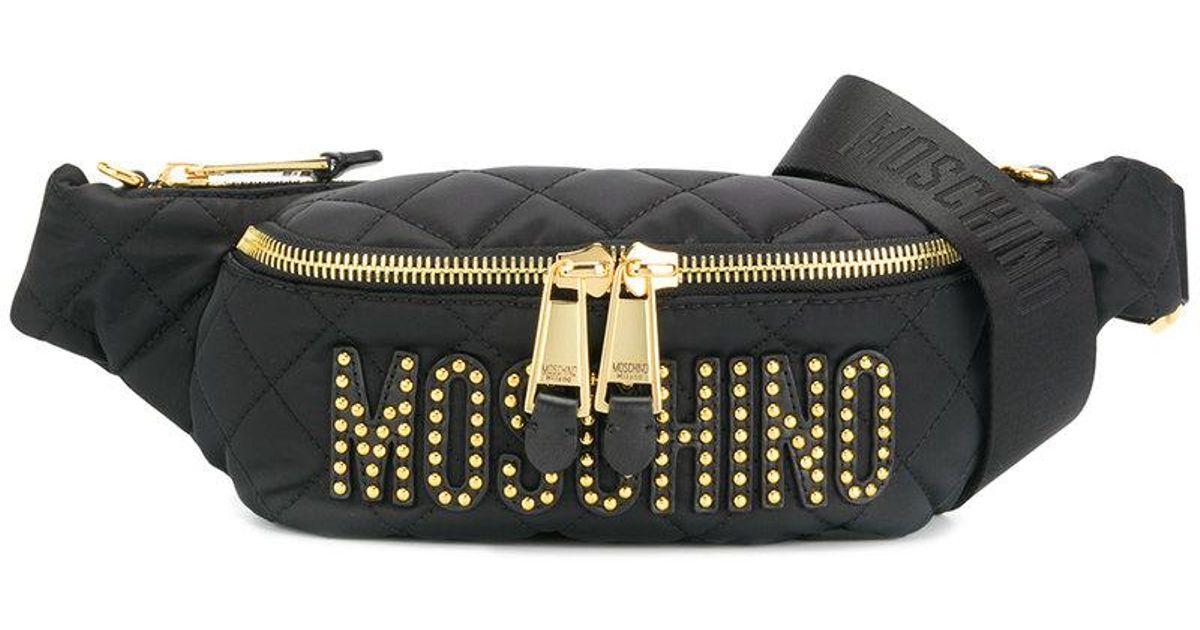 6d2177ea390 Moschino - Black Logo Plaque Belt Bag - Lyst