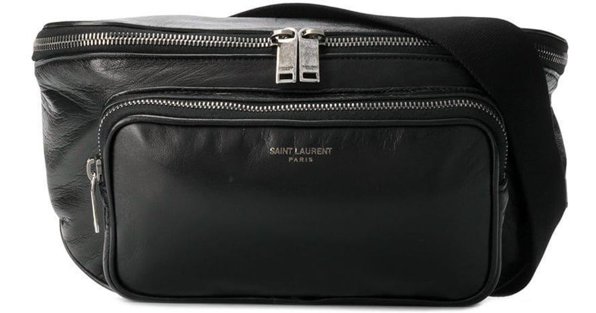 81889395ad Lyst - Saint Laurent Leather Belt Bag in Black for Men