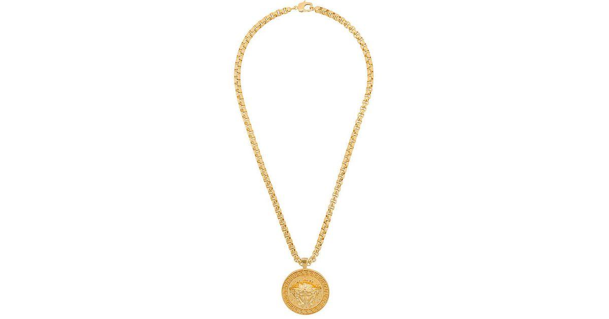 Lyst versace medusa pendant necklace in metallic for men aloadofball Images