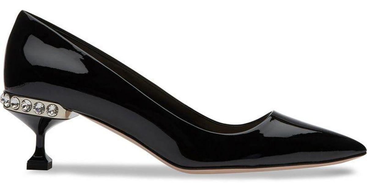9f444f07a72 Miu Miu Jewel Embellished Kitten Heel Pumps in Black - Lyst