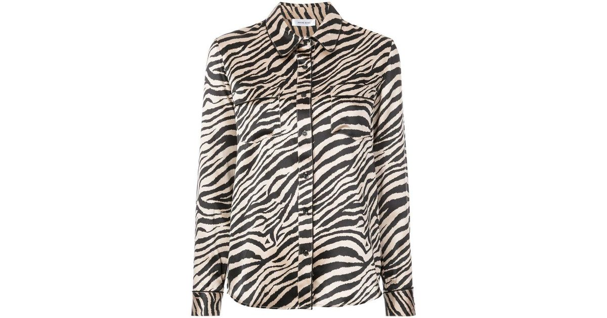 Lyst - Anine Bing Vivienne Printed Shirt in Black 8104872a7