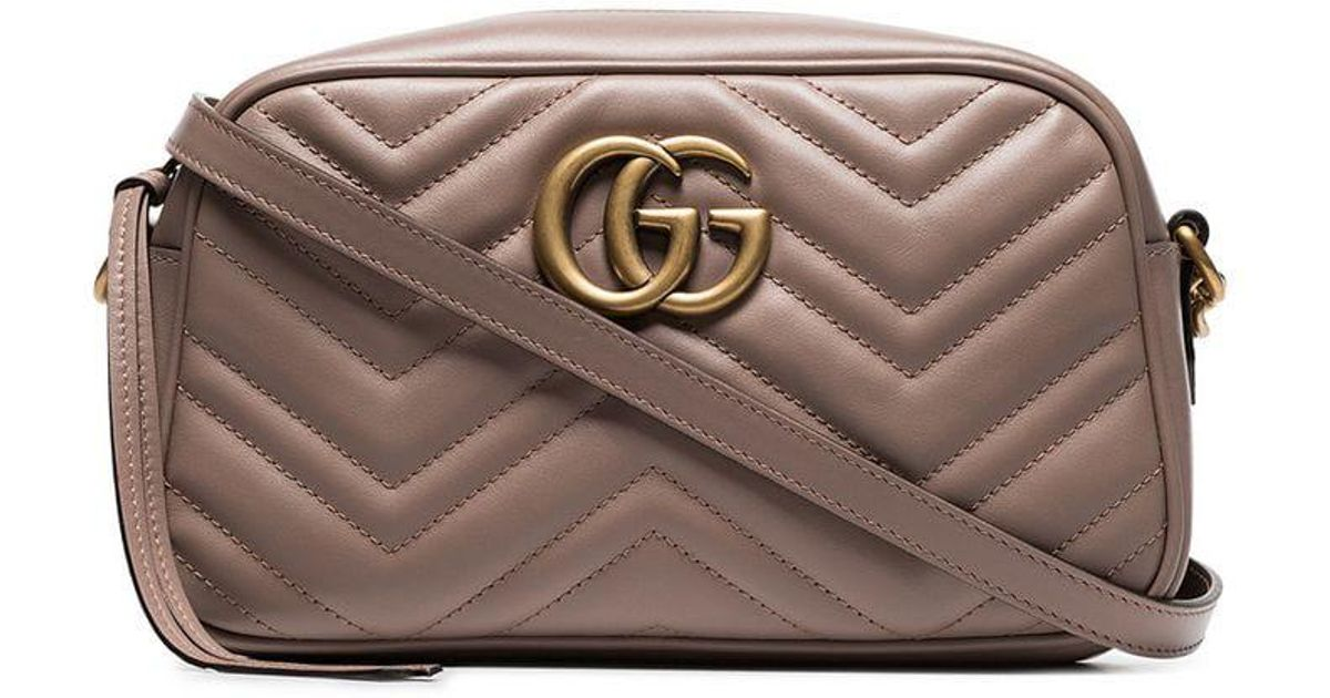 fa74eefa55de Gucci Nude GG Marmont Quilted Leather Shoulder Bag - Lyst
