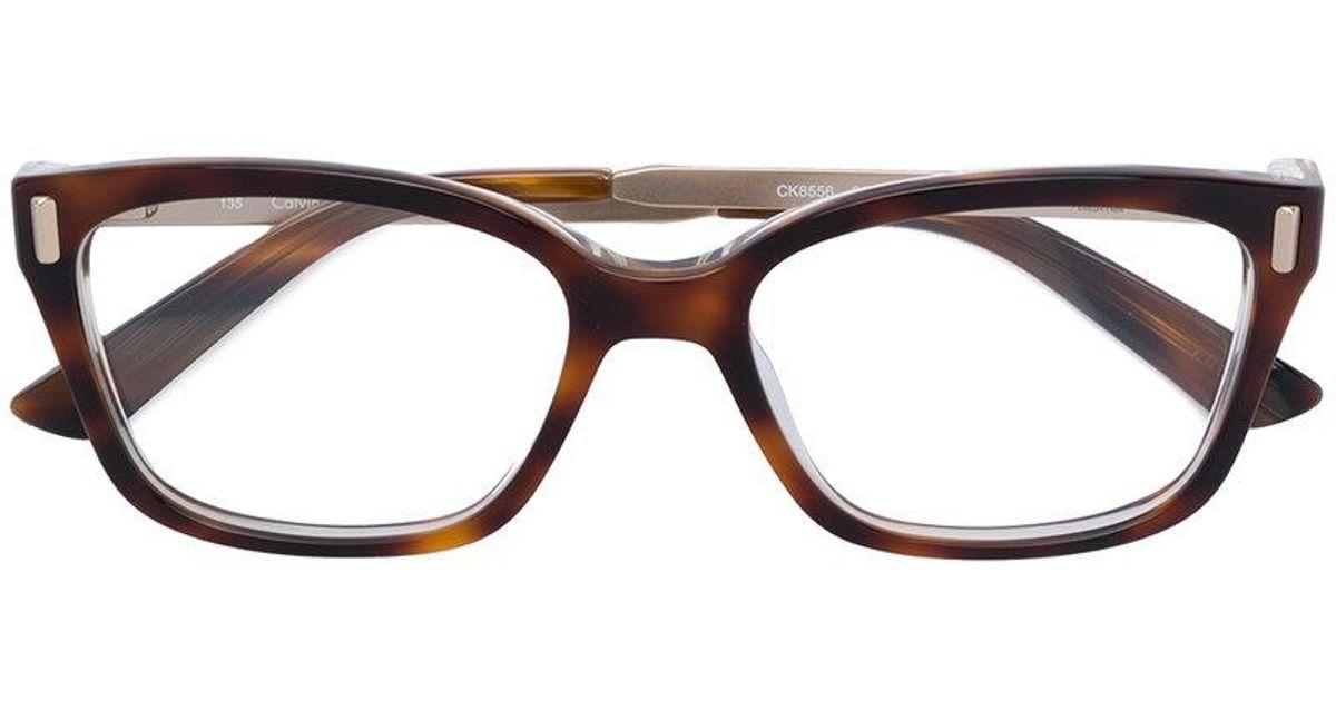 2b596371a1 Lunettes à monture carrée Calvin Klein en coloris Marron - Lyst